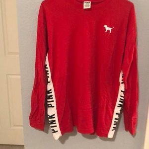 red long sleeve pink t-shirt